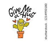 give me a hug  cartoon cacti... | Shutterstock .eps vector #1214950180