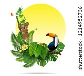 exotic tropical leaf background ... | Shutterstock .eps vector #1214952736