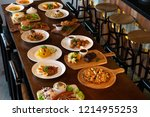 mixed western and fusion food... | Shutterstock . vector #1214955253