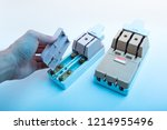 circuit breakers on the... | Shutterstock . vector #1214955496
