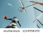 winning throw. low angle of a... | Shutterstock . vector #1214958193
