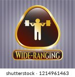 gold emblem with squat icon... | Shutterstock .eps vector #1214961463