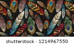 feathers embroidery seamless... | Shutterstock .eps vector #1214967550