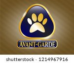 shiny emblem with paw icon and ... | Shutterstock .eps vector #1214967916