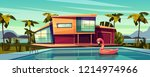 luxury villa on coast  foreign... | Shutterstock .eps vector #1214974966
