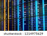 flight board  flight schedule... | Shutterstock . vector #1214975629