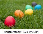 Easter Eggs In A Row On The...