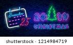 2019 happy new year neon text.... | Shutterstock .eps vector #1214984719