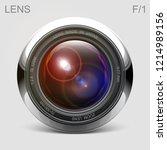 set camera lens object glass...   Shutterstock .eps vector #1214989156