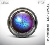 set camera lens object glass...   Shutterstock .eps vector #1214989159