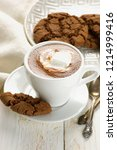 cup of hot chocolate with... | Shutterstock . vector #1214999416