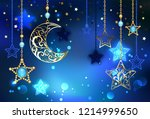 gold  jewel crescent with... | Shutterstock .eps vector #1214999650