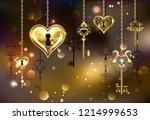 gold  mechanical heart with... | Shutterstock .eps vector #1214999653