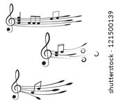 music. treble clef and notes... | Shutterstock .eps vector #121500139
