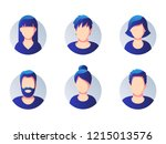set of diverse round avatars... | Shutterstock .eps vector #1215013576