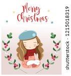 girl and rabbit for christmas...   Shutterstock .eps vector #1215018319