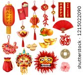 chinese new year set with happy ... | Shutterstock .eps vector #1215022090