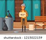 flat homeless people cartoon...   Shutterstock .eps vector #1215022159