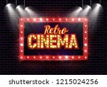 shining sign retro cinema with... | Shutterstock .eps vector #1215024256