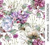 background of roses. seamless... | Shutterstock . vector #1215028240