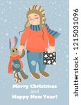 christmas card with cute baby... | Shutterstock .eps vector #1215031096