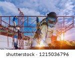 worker sit welding structure ... | Shutterstock . vector #1215036796