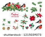 christmas wreath of spruce ... | Shutterstock .eps vector #1215039073