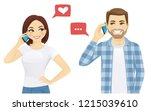 young man and woman talking on... | Shutterstock .eps vector #1215039610