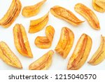 banana slice chips top view on... | Shutterstock . vector #1215040570