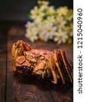 a hairy crab is on the table. | Shutterstock . vector #1215040960