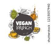 vegan brunch concept design....   Shutterstock .eps vector #1215057940
