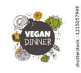 vegan dinner concept design....   Shutterstock .eps vector #1215057949