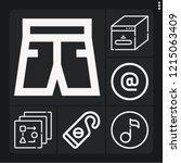 set of 6 modern outline icons... | Shutterstock .eps vector #1215063409