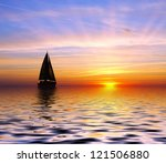 sailing to the sunset | Shutterstock . vector #121506880