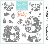 pregnancy and baby. baby shower.... | Shutterstock .eps vector #1215072913