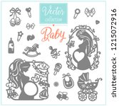 pregnancy and baby. baby shower.... | Shutterstock .eps vector #1215072916