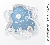 vector winter night scene with...   Shutterstock .eps vector #1215075259