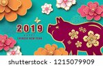 chinese new year 2019 greeting... | Shutterstock .eps vector #1215079909