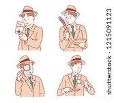detective character set. hand... | Shutterstock .eps vector #1215091123