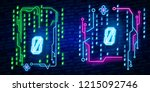 neon city font sign number 0 ... | Shutterstock .eps vector #1215092746
