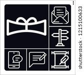 set of 6 message outline icons... | Shutterstock .eps vector #1215100633