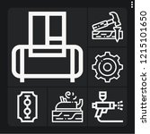 set of 6 machine outline icons... | Shutterstock .eps vector #1215101650