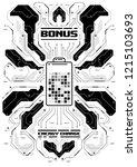cyberpunk futuristic poster... | Shutterstock .eps vector #1215103693