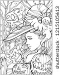 coloring page for adults  witch ... | Shutterstock .eps vector #1215105613