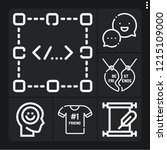 set of 6 text outline icons... | Shutterstock .eps vector #1215109000