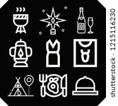 set of 9 party outline icons... | Shutterstock .eps vector #1215116230