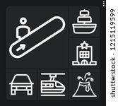 set of 6 travel outline icons... | Shutterstock .eps vector #1215119599