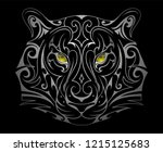 white tiger tattoo shape with... | Shutterstock .eps vector #1215125683
