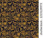seamless pattern with tattooed... | Shutterstock .eps vector #1215129973