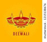 happy diwali card. vector... | Shutterstock .eps vector #1215138676